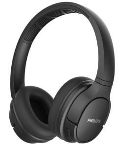 Philips ActionFit TASH402BK Bluetooth 5.0 IPX4 Sweat Resistant On-Ear Sports Headphones with Cooling Ear Cups, 20 Hour Play Time, 40 mm Drivers and Built-in Mic with Echo Cancellation (Black)