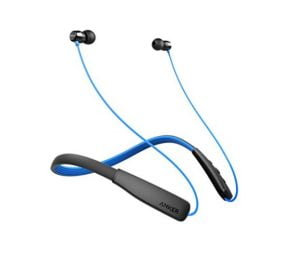 Anker Soundbuds Lite Bluetooth Headphones, Wireless Lightweight Neckband Headset, IPX5 Water Resistant Sport Earbuds with Noise Cancelling and Built-in Mic (Black and Blue)