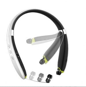 Bluetooth Headphones, BEARTWO Upgraded Foldable Wireless Neckband Headset with Retractable Earbuds, Noise Cancelling Stereo Earphones with Mic for Workout, Running, Driving (with Carry Case) (White)