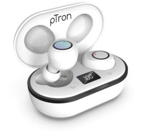 pTron Bassbuds Jets True Wireless Bluetooth 5.0 Headphones, 20Hrs Total Playback with Case, Deep Bass, Touch Control, IPX4 Water Resistant, Voice Assistant, Built-in Mic & Digital Display (White)